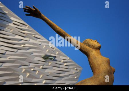 Rowan Gillespie's sculpture Titanica in front of the Titanic museum in Belfast, Northern Ireland United Kingdom - Stock Photo