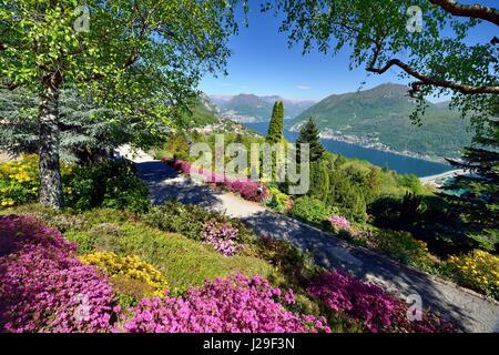 View from Parco San Grato on Lake Lugano with lake dam of Melide, Carona, Lugano, Canton of Ticino, Switzerland - Stock Photo