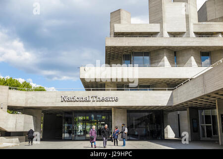 The iconic modern architecture of the Royal National Theatre in Upper Ground in the Southbank Centre, South Bank, - Stock Photo