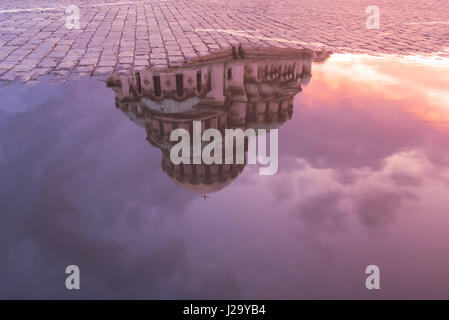 Reflection in water on Alexander Nevsky Cathedral in Sofia, Bulgaria - Stock Photo