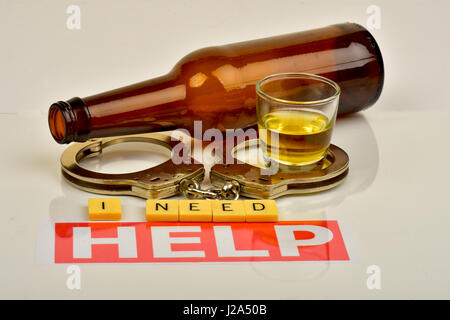 Signs and symbols of alcoholism and the need for help. - Stock Photo