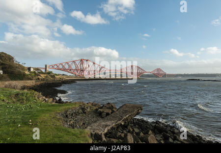 Forth bridge looking south, North Queensferry, Scotland, United Kingdom - Stock Photo