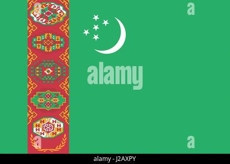 Illustration of the national flag of Turkmenistan - Stock Photo