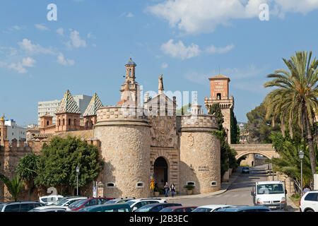 entrance portal of Poble Espanyol in Palma de Mallorca, Spain - Stock Photo