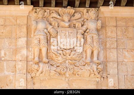 relief at Poble Espanyol in Palma de Mallorca, Spain - Stock Photo