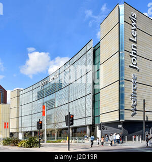 John Lewis department store building with Waitrose sign which is in an adjacent location both within the UK Stratford - Stock Photo