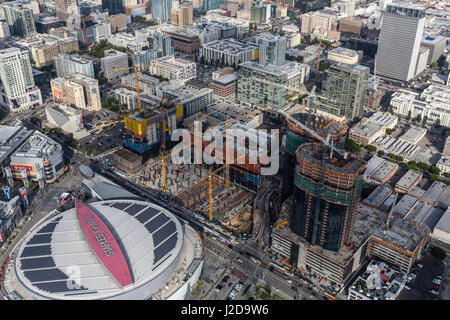 Los Angeles, California, USA - April 12, 2017:  Aerial view of Staples Center and neighboring Oceanwide Plaza construction - Stock Photo