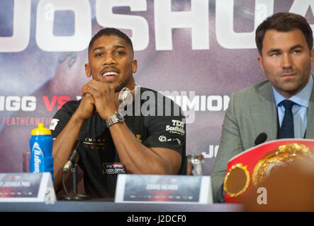 April 27, 2017, London, UK. Anthony Joshua speaks during a press conference for his Super Heavyweight title fight - Stock Photo
