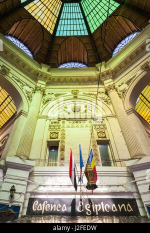 Romania, Bucharest, Lipscani, Old Town, Pasaj Macca-Villacrosse, old arcade interior - Stock Photo