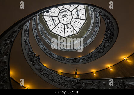 The ceiling of the Bramante Staircase at the exit to the Sistine Chapel and Vatican Museum in Rome, Italy - Stock Photo