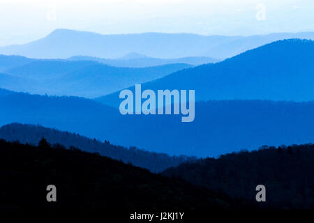 Hazy views of Blue Ridge Mountains from Art Loeb Trail near Black Balsam Knob - Blue Ridge Parkway, North Carolina, - Stock Photo