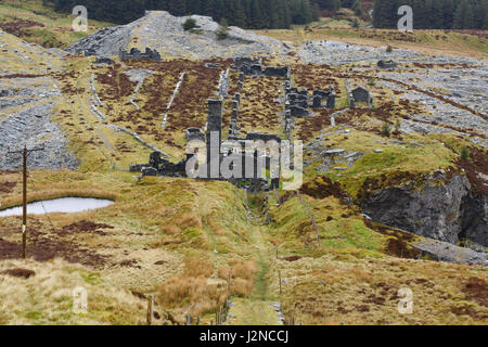 The abandoned Rhiw bach Slate Quarry near Blaenau Ffestiniog in North Wales opened in 1812 closed in 1952 one of - Stock Photo