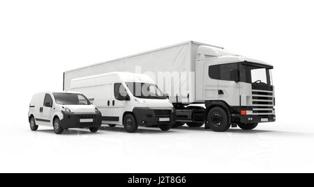 3D rendering of a truck, a van and a lorry isolated on a white background - Stock Photo