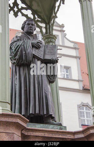 Sculpture of the reformer Martin Luther in Wittenberg - Stock Photo
