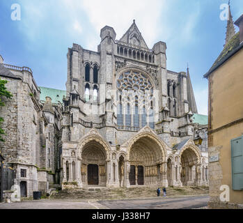 France, Centre-Val de Loire, Chartres, Cathédrale Notre-Dame de Chartres, North facade of Chartres Cathedral - Stock Photo