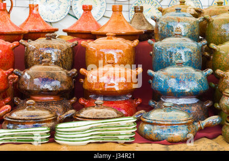 Ceramic handmade pots and tagines. Colored pots - Stock Photo