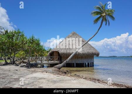 Typical construction Polynesian traditional housing Fare Potee on the shore of the lake Fauna Nui, Maeva, Huahine - Stock Photo