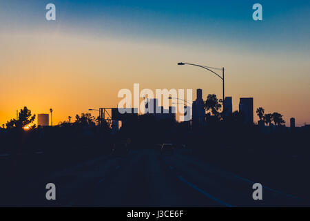los angeles at sunset from the 5 freeway - Stock Photo