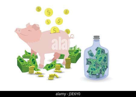 Pig pink piggy bank with a stack of gold coins and paper green dollars and a glass food bank for savings. Illustration - Stock Photo