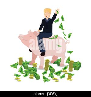 Donald Trump riding a pig piggy bank on a white background. Illustration for your design. A piggy bank with green - Stock Photo