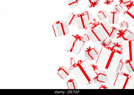 White gift boxes with red ribbon isolated on white background. - Stock Photo