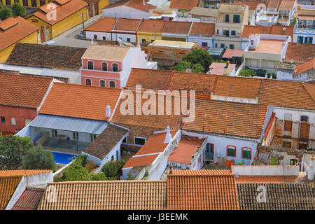 A Rooftop view in Silves, Portugal - Stock Photo