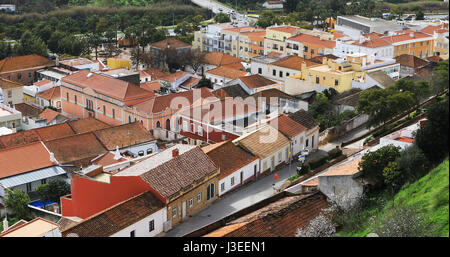 A Rooftop view, Silves in Portugal - Stock Photo