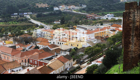 A View from rooftops in Silves, Portugal - Stock Photo
