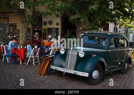 Old vintage car prefect historic car in a field in Colonia Del Sacramento Uruguay South America - Stock Photo