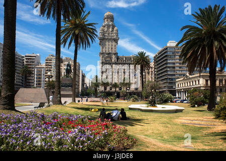 Salvo Palace on the Independence Square, Montevideo, Uruguay - Stock Photo