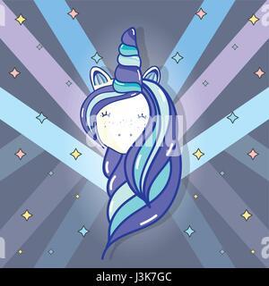 beautiful head unicorn with long mane - Stock Photo