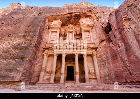Frontal view of 'The Treasury', one of the most elaborate temples in the ancient Arab Nabatean Kingdom city of Petra, - Stock Photo