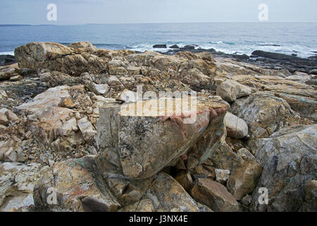 A view of the Atlantic Ocean coastline from Atlantic Road on Gloucester, Massachusetts. - Stock Photo