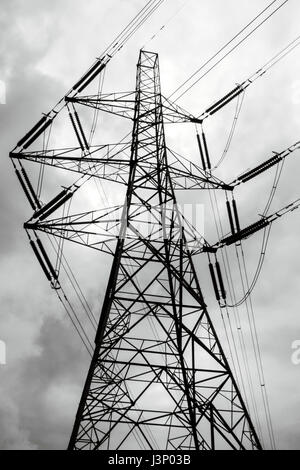 A towering electricity pylon and power lines silhouetted against a cloudy sky - Stock Photo