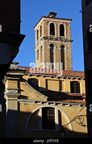 Narrow streets and old houses in Venice in Italy - Stock Photo