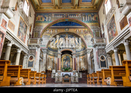 Interior of  Basilica di Santa Prassede with byzantine mosaics from the years 817-824, Rome, Italy - May 3, 2017 - Stock Photo