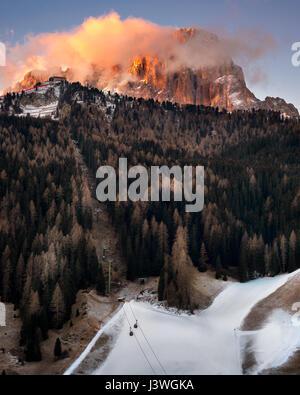 Selva Val Gardena in the Morning, Val Gardena, Dolomites, Italy - Stock Photo