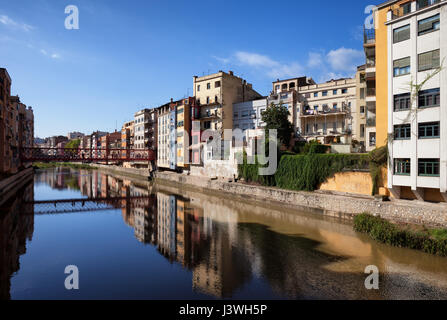 City of Girona in Catalonia, Spain, skyline with riverside houses on Onyar River - Stock Photo