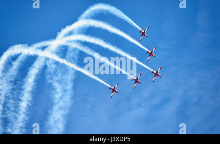 Pilatus PC-9A A23-037 of the RAAF Roulettes Formation Aerobatic Team performing at Wings over Illawarra 2017 Airshow, - Stock Photo