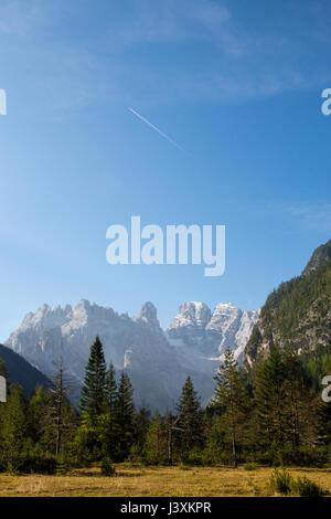Monte Cristallo viewed from the area around Lago di Landro in the Italian Dolomites - Stock Photo