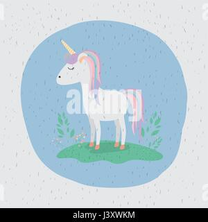 colorful background with unicorn standing with rainbow colors in mane and tail - Stock Photo
