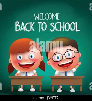 Students vector characters sitting in the desk in a classroom raising hands and writing with back to school text - Stock Photo
