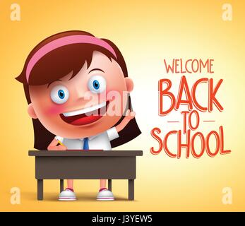 Girl student vector character in 3D sitting in a desk raising hand and writing in yellow background with back to - Stock Photo