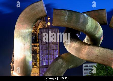 kudamm and kaiser-wilhelm-gedächtnis-kirche in berlin, kurfurstendamm, modernity, night, photo by kazimierz jurewicz, - Stock Photo