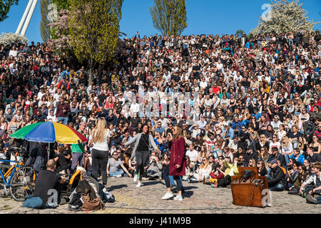 Open stage Karaoke, Mauerpark, Prenzlauer Berg, Berlin, Germany - Stock Photo