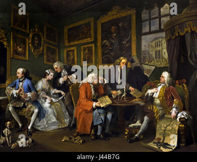 Marriage A-la-Mode: 1, The Marriage Settlement 1743, William Hogarth 1697 - 1764 United Kingdom, England, English, - Stock Photo