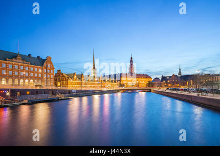Copenhagen city view of Christiansborg Palace at night in Copenhagen, Denmark - Stock Photo