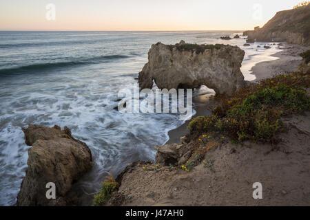 Dusk at El Matador State Beach in Malibu California. - Stock Photo