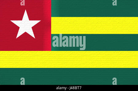 Illustration of the national flag of Togo looking like it is painted on a wall. - Stock Photo