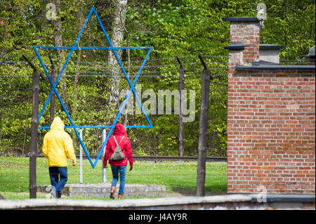 Star of David in Nazi German concentration camp KL Stutthof in 72 anniversary of liberation of the concentration - Stock Photo